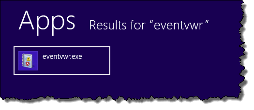 Event Viewer in Windows 8 search