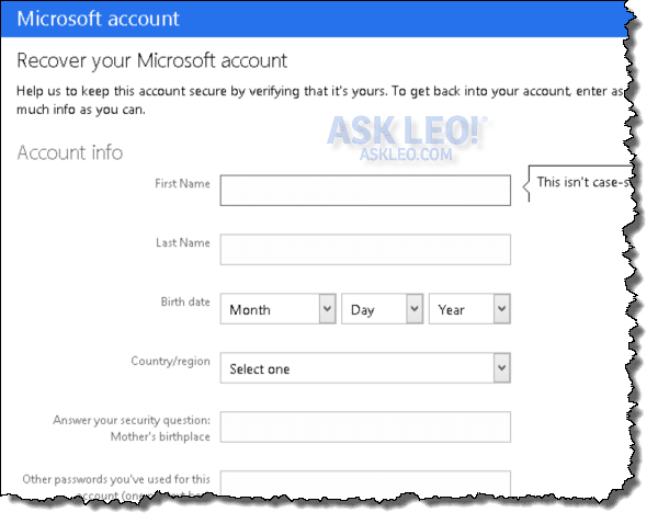 Outlook.com recovery questionaire