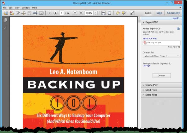 PDF file in Adobe Reader