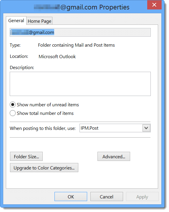 Outlook 2013 PST Properties Dialog