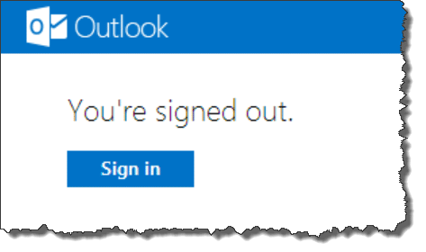 Outlook.com signed out