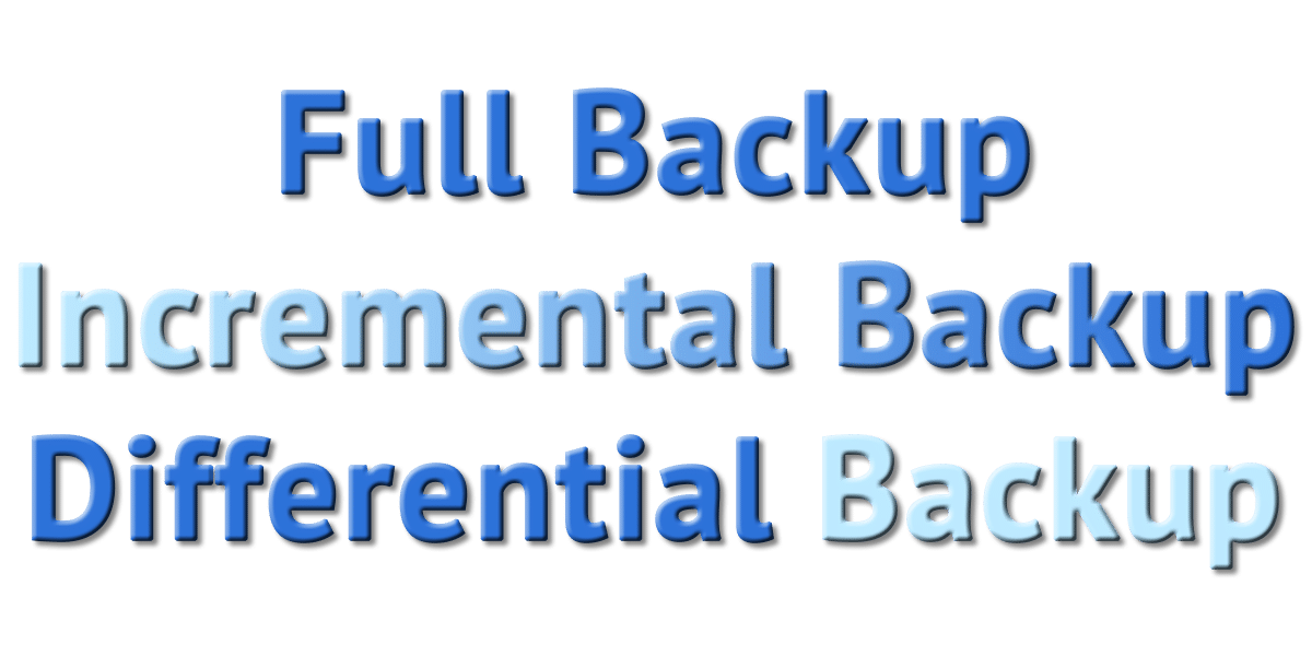 Full Backup, Incremental Backup, Differential Backup