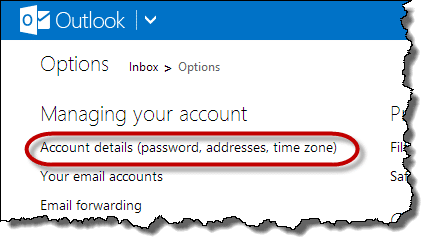 Outlook.com Account details link
