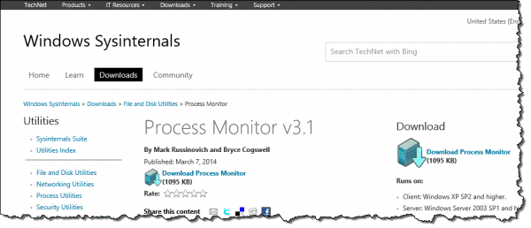 Process Monitor Download Page