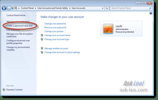 Windows 7 Create Password Disk link
