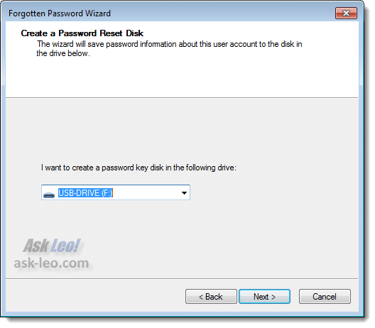 Creating A Password Reset Disk - Drive Selection
