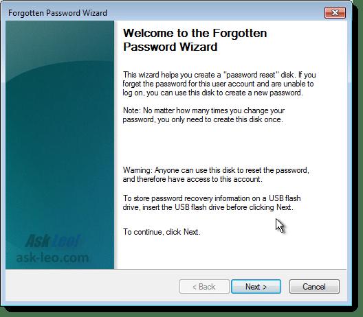 Windows 7 Forgotten Password Wizard