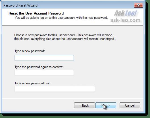 New Password Entry