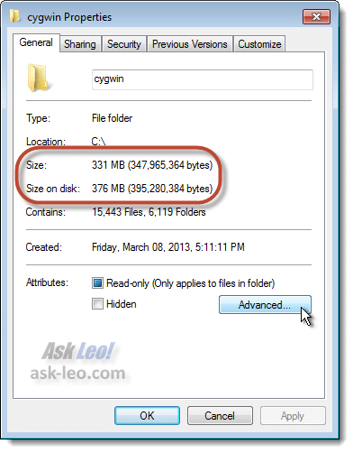 Folder Properties Highlighting Folder Size
