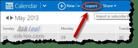 Microsoft Calendar - Import