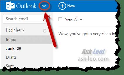 Outlook.com's downarrow
