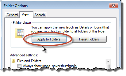 Windows 7 Explorer Apply to Folders button
