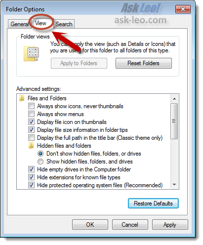 Windows 7 Explorer Options View Tab