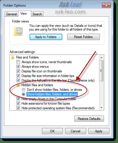 Windows Explorer Hidden Files Option