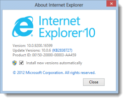 IE10 About Box