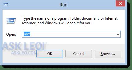 Run dialog with MRT entered