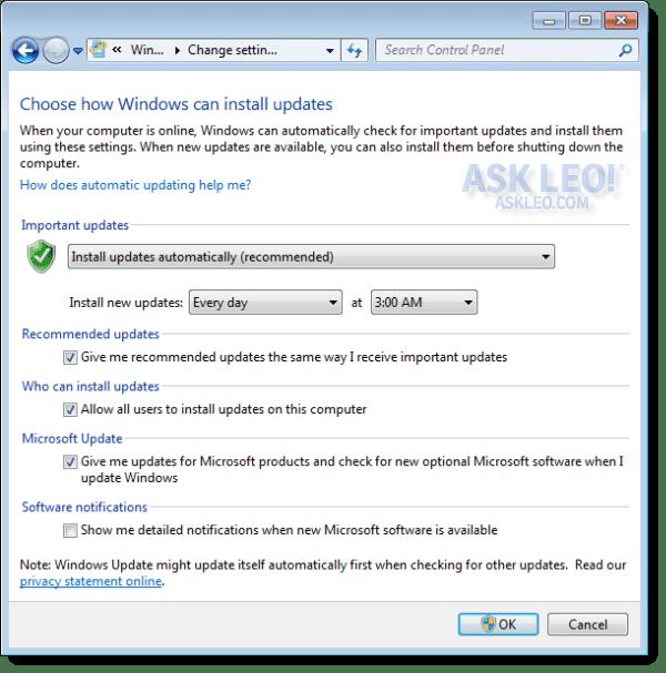 Windows Update Automatic Settings