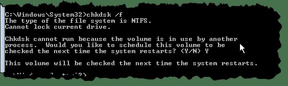 CHKDSK in CMD on C: