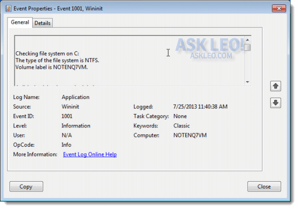 CHKDSK results in event viewer