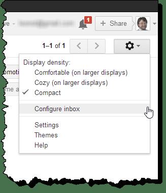 Gmail configure inbox menu