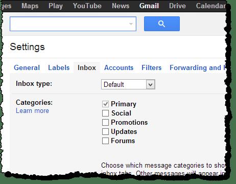 Gmail inbox settigns