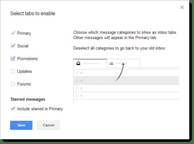 Gmail tabs dialog