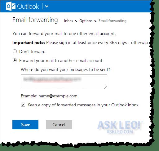 Outlook.com email forwarding