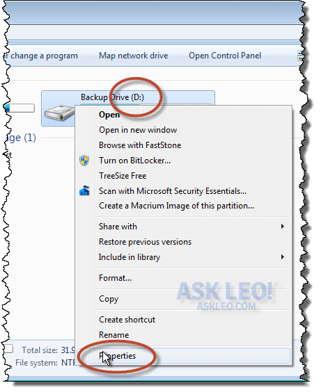 Right Clicking a Drive for Properties