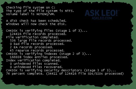 CHKDSK running before Windows