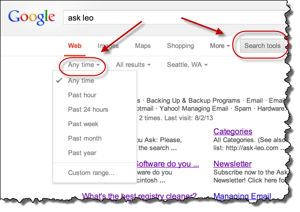 Time Options in Google Search Results