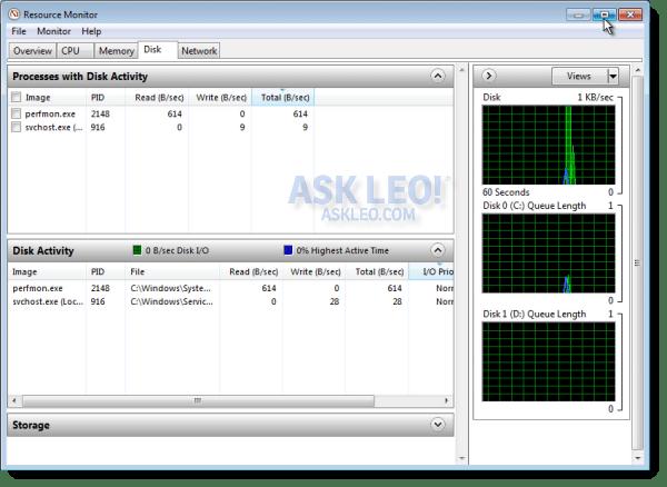 Resource Monitor Disk Tab