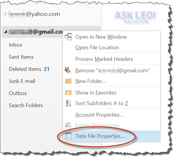 Outlook 2013 PST Context Menu