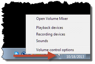 Right clicked volume indicator