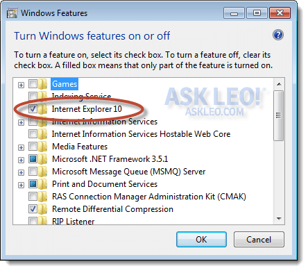 IE in the Windows feature list