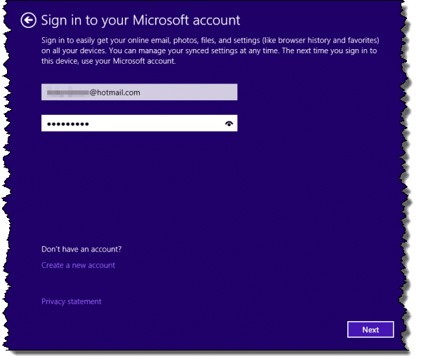 Windows 8 Upgrade Provide MS Account