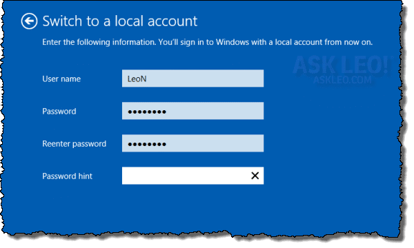 Windows 8 Switching to a Local Account