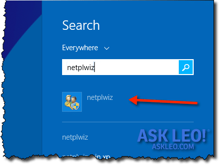 Windows 8 Search for NETPLWIZ