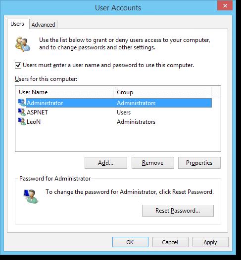 User Accounts Dialog
