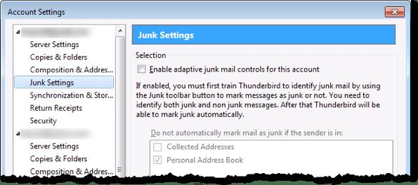 Thunderbird Junk Settings