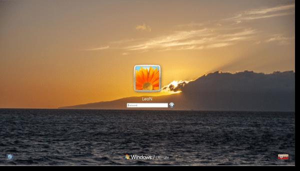 Windows 7 with custom login background