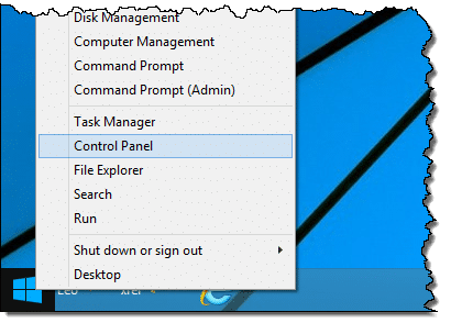 Control Panel on Windows 8.1 Start menu