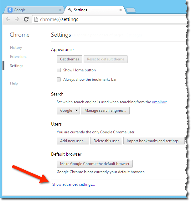 Chrome Show Advanced Settings link