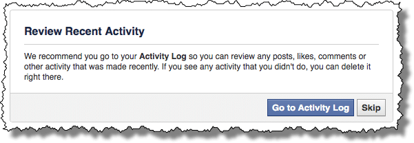 Facebook Activity Review Suggestion