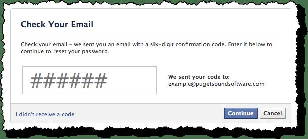 Facebook Enter Code Page