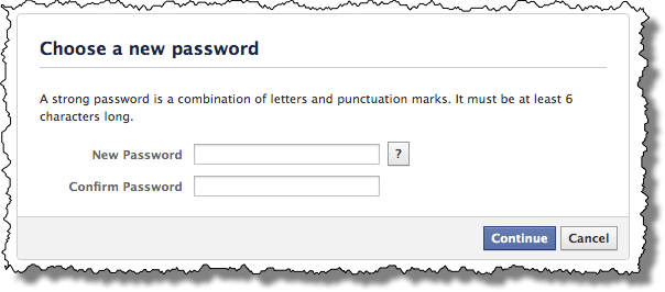 Facebook New Password Entry Form