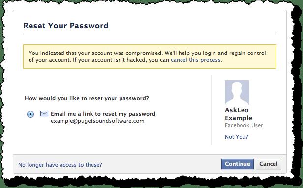 Facebook Reset Password Option