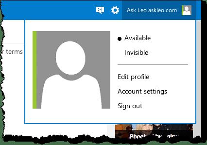 Outlook.com Menu