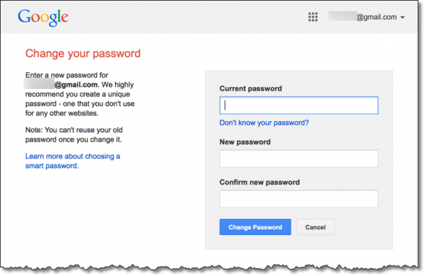 Gmail change password dialog