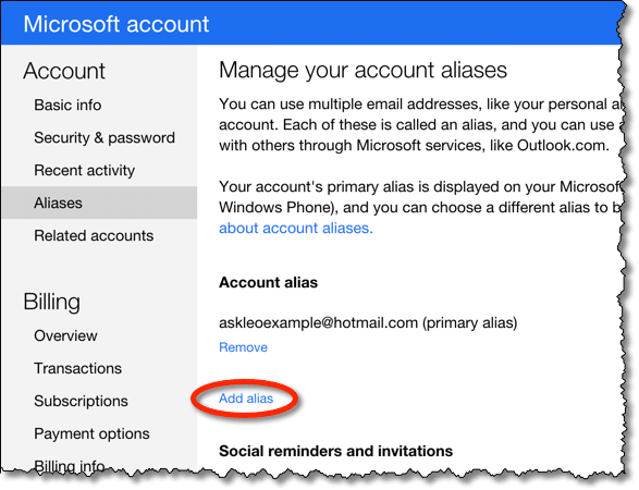 Outlook.com Add Alias Link