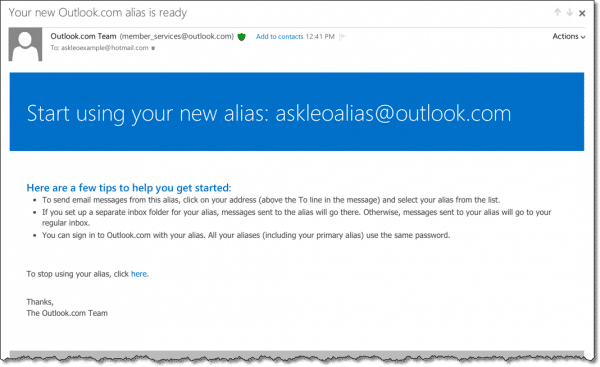 Outlook.com Alias Confirmation